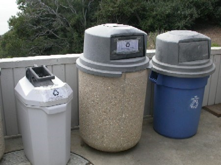 Some of the employee recycling containers at Cabrillo National Monument