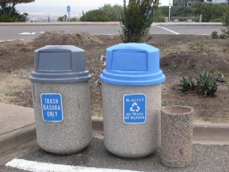 Recycling containers at Cabrillo National Monument