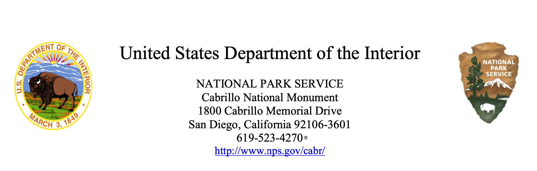 Mask Mandate Header displaying signature of Park Superintendent on February 5, 2021