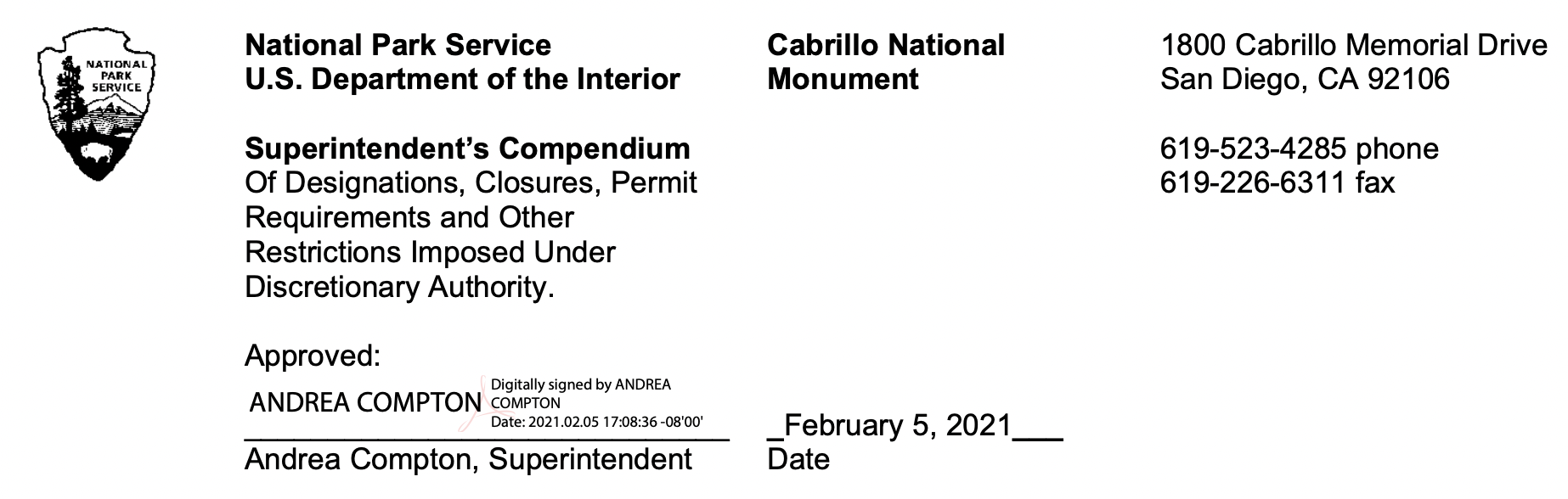 Letterhead with Superintendent Andrea Compton's signature, dated February 2021 approving the document for Cabrillo National Monument