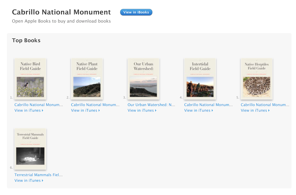 Photo showing the iBooks formatted Field Guides