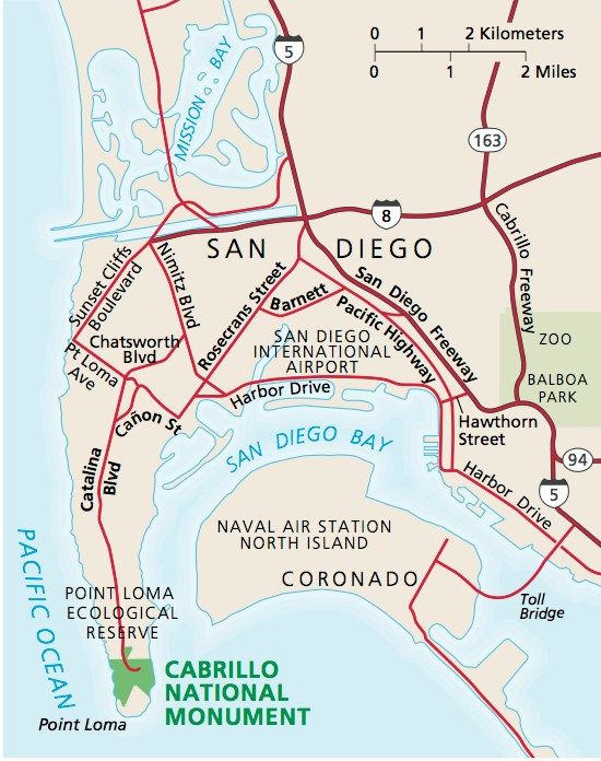 Area map around Cabrillo National Monument