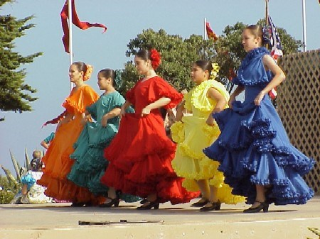 Colorful Spanish dancers