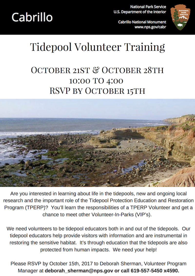 Tidepool Volunteer Training October 21st & October 28th 10:00 to 4:00 ;RSVP by October 15th