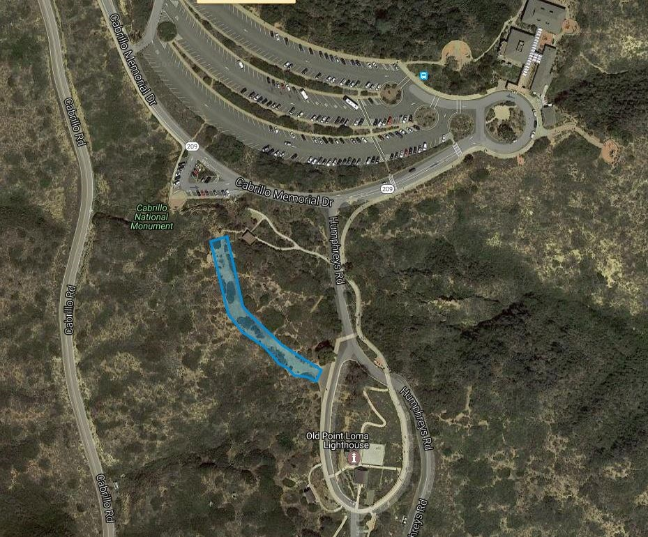 Map showing location of the Event Bluff at Cabrillo
