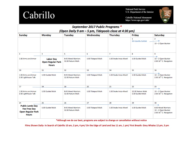 Calendar of Public Programs for September 2017