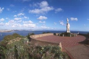 The Plaza at the Cabrillo Statue is a scenic place to take in the view of San Diego and the harbor
