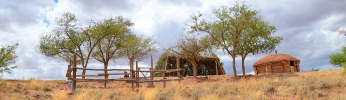 Donations helped with building the traditional Navajo home