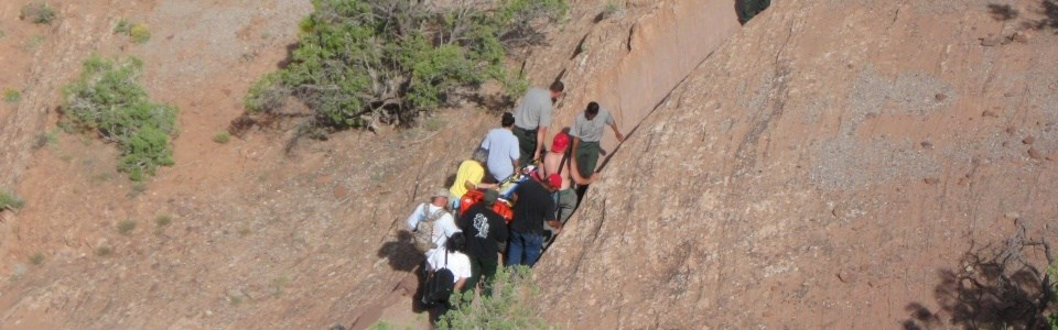 Rescue of visitor along trail