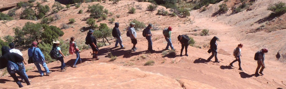 Group hiking in canyon