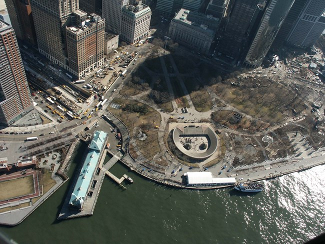 Aerial view of Battery Park in lower Manhattan, including Castle Clinton.
