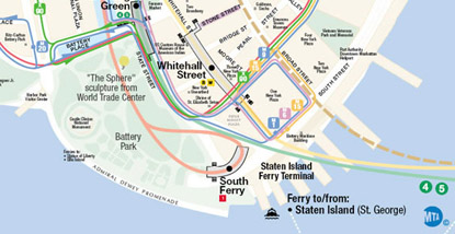 Map showing public transit to Battery Park
