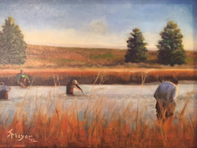 A painting of people wading in a stream surrounded by tall grass.