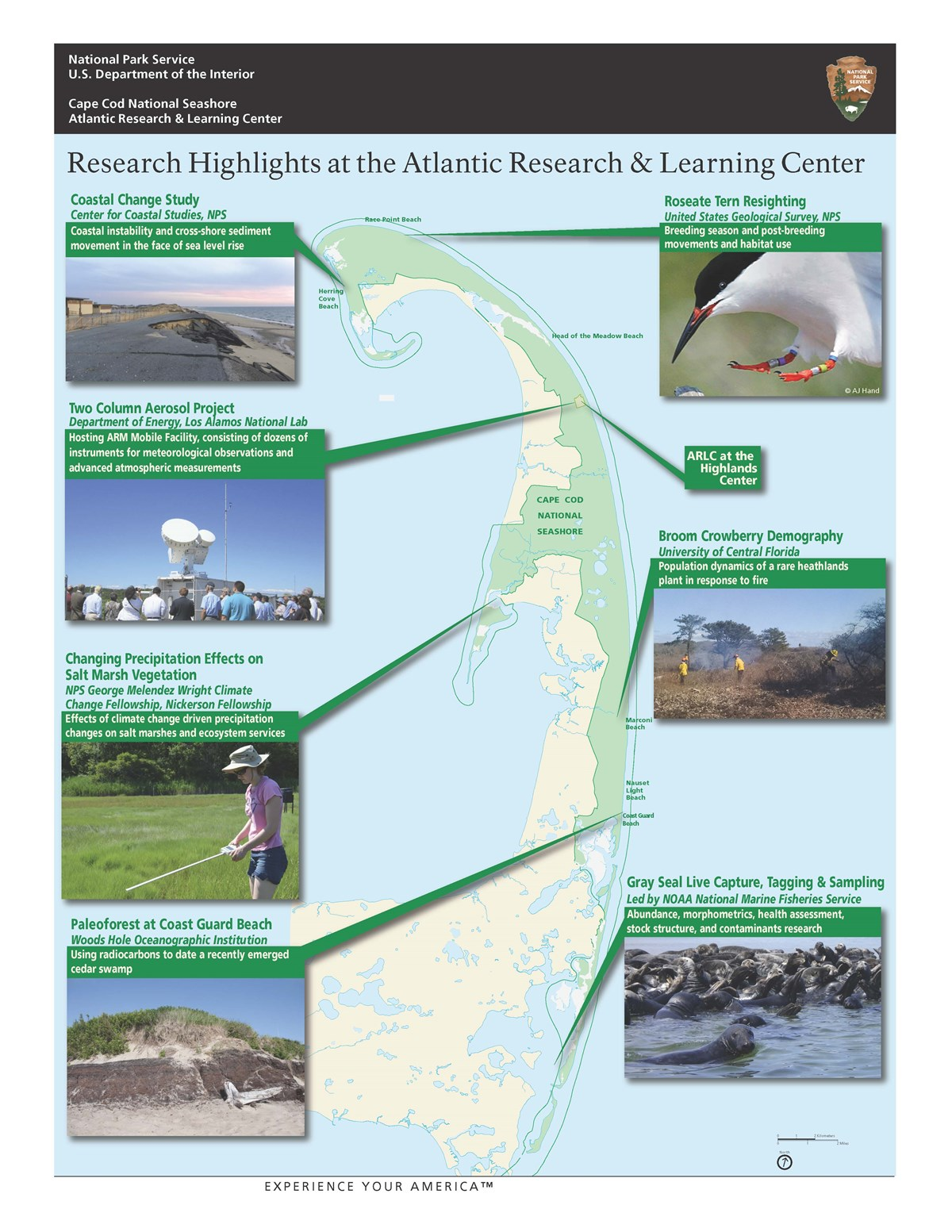 A map of the outer area of Cape Cod, curled like a flexed arm, with images depicting a variety of researchers in the field.