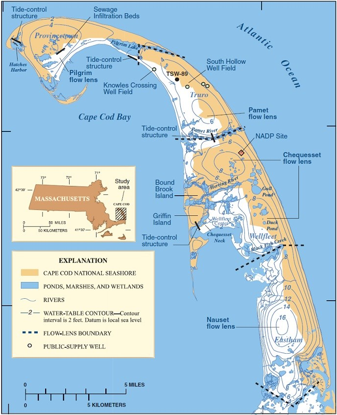 Cape Cod Hydrology Map