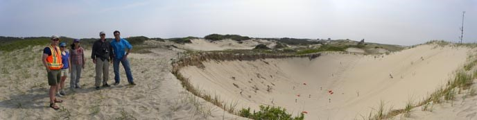 Visiting researchers stand beside a dune blow-out at Cape Cod National Seashore.