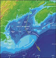 Map of the Gulf of Maine