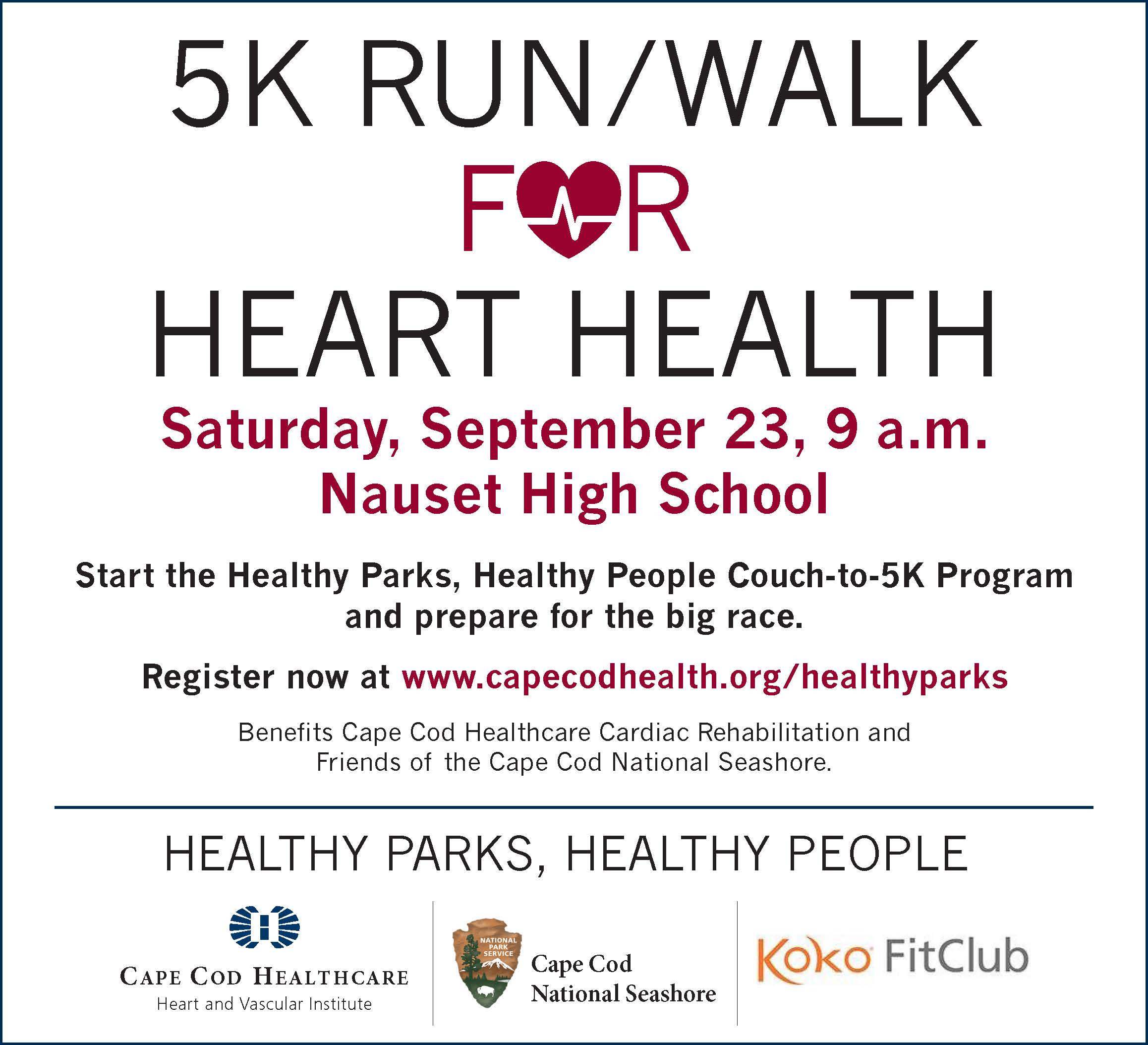 A white logo for a 5K Run/Walk For heart health. Spnsor Logos For Cape Cod national seashore, Cape Cod Healthcare, and Koko Fitness.