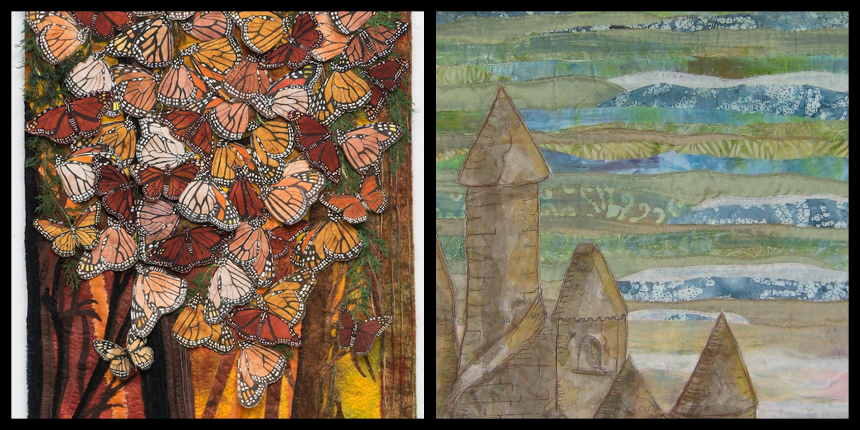 Close up image of art quilts with colorful orange and black butterflies, and a beige sandcastle against a blue sea