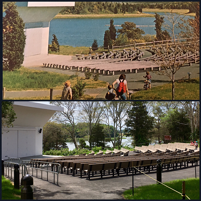 Rehabilitation of the 1960s-era Salt Pond Amphitheater is complete. The National Park Service will host several ranger programs and events there this summer. (Side-by-side images show the amphitheater just after completion, and modern day.