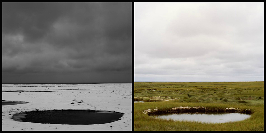 Two side by side images of the same circular pond, the one on the left is in snow, the one on the right is green and sunny.