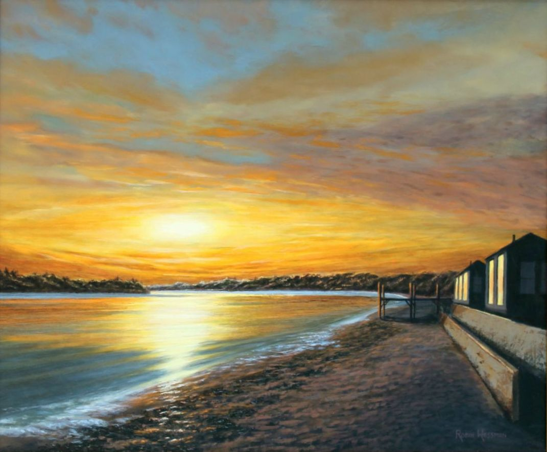 A painting of a setting sun over a curved coastline. Two houses reflect the sunset off of their full length windows.