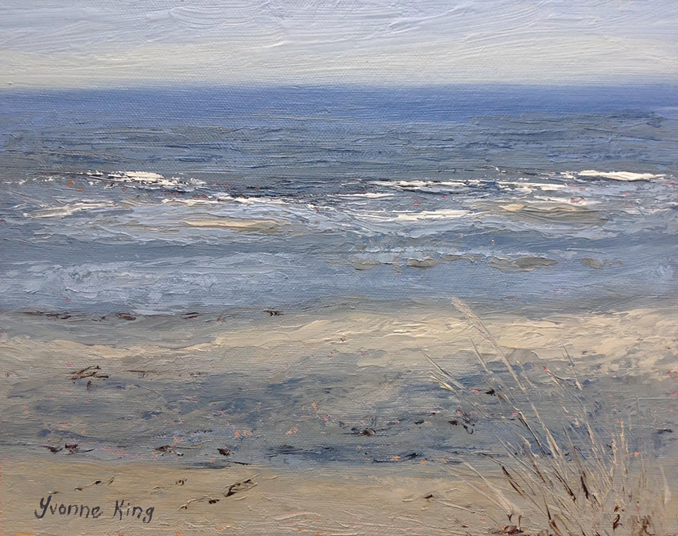 Oil on canvas painting of soft blue-green waves rolling on to a sandy beach.