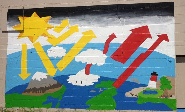 A brick wall with a colorful mural depicting the sun's rays shining down on the earth and reflecting off of land and sea and through the clouds.