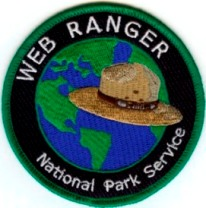 web ranger patch with hat and world map design