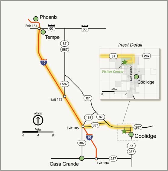 Map showing driving directions to Casa Grande Ruins from Phoenix