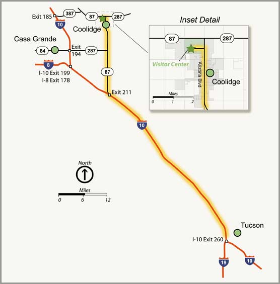 Map showing driving directions to Casa Grande Ruins from Tucson