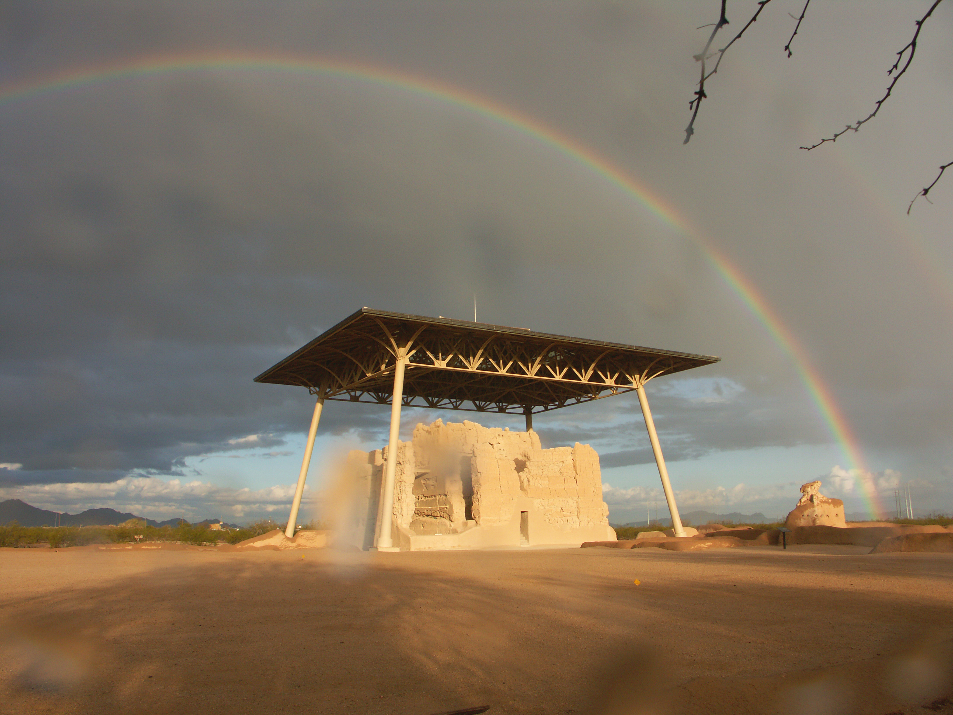clearing skies reveal and double rainbow over the Casa Grande Great House