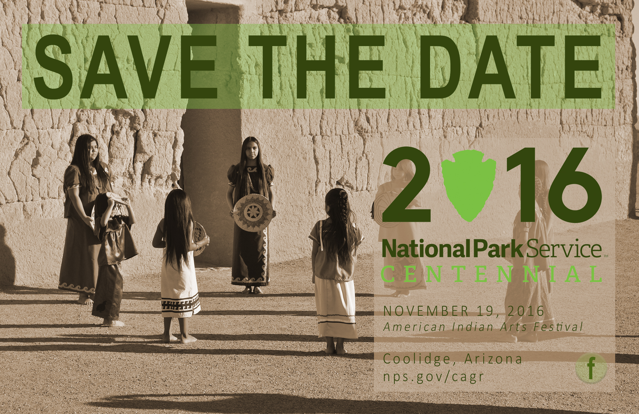 Save the Date card with NPS Centennial logo, basket dancers at the Great House