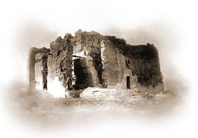 Image of the Casa Grande by Holly Todd in 1892.  From an original 5x7 glass plate.
