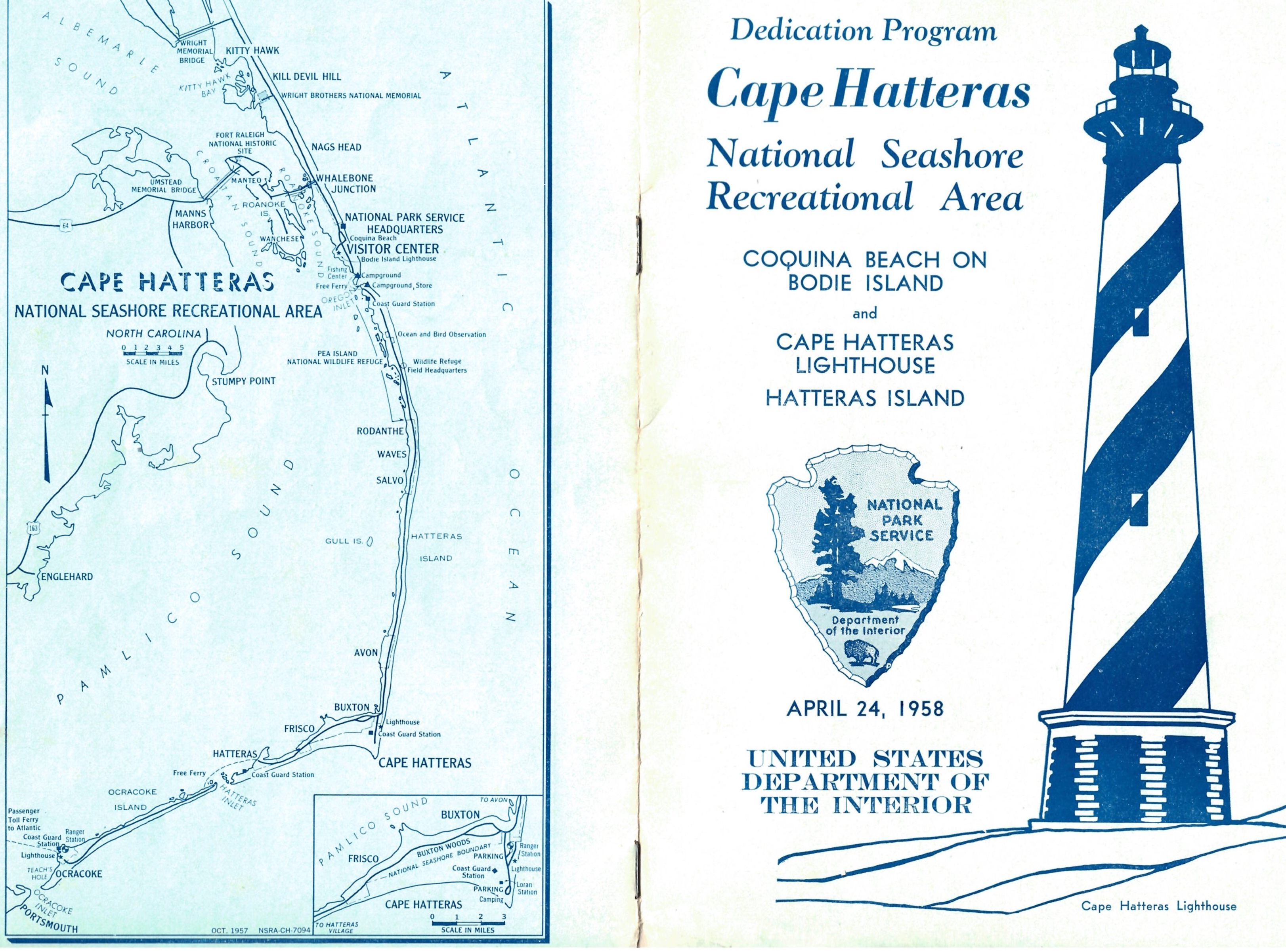 Front and back page of Dedication Program for Cape Hatteras National Seashore Recreational Area