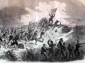 Union forces charge the Roanoke Island earthworks