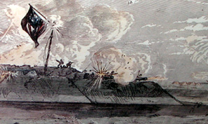 Artwork of the shelling of Fort Hatteras