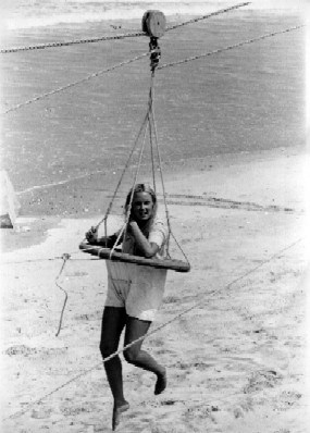 Women in breeches buoy during reenactment