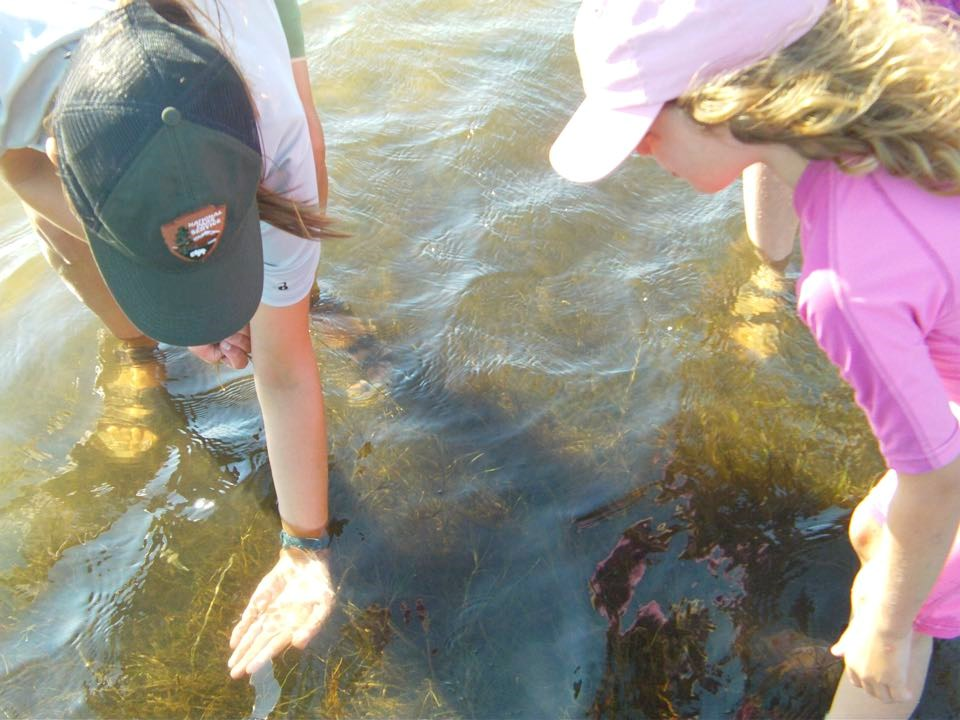 Kid and ranger exploring the biota of Pamlico Sound