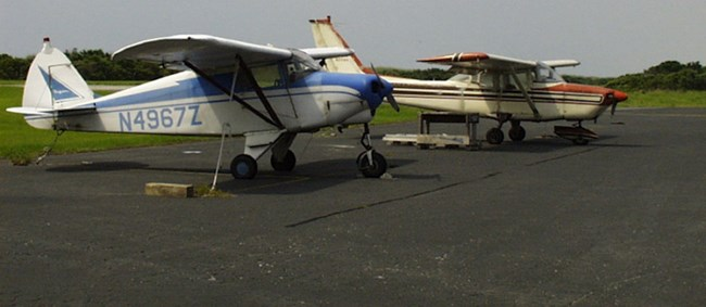 Airplanes on the tarmac of one of the park's airstrips