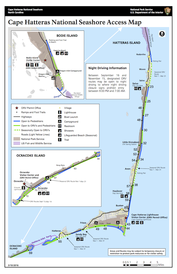 Map of the entire Cape Hatteras National Seashore showing the designated off-road vehicle and vehicle-free areas.