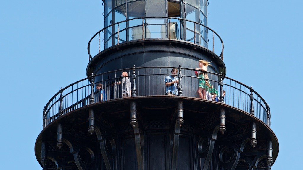 Visitors on the observation deck of the Cape Hatteras Lighthouse