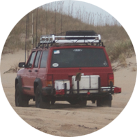 Vehicle driving down the beach.