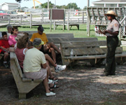 A ranger presents a program outside the Ocracoke Visitor Center.