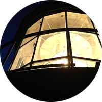 Bodie Island Lighthouse Light during a full moon climb