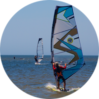 Windsurfers enjoying a good wind day at Haulover