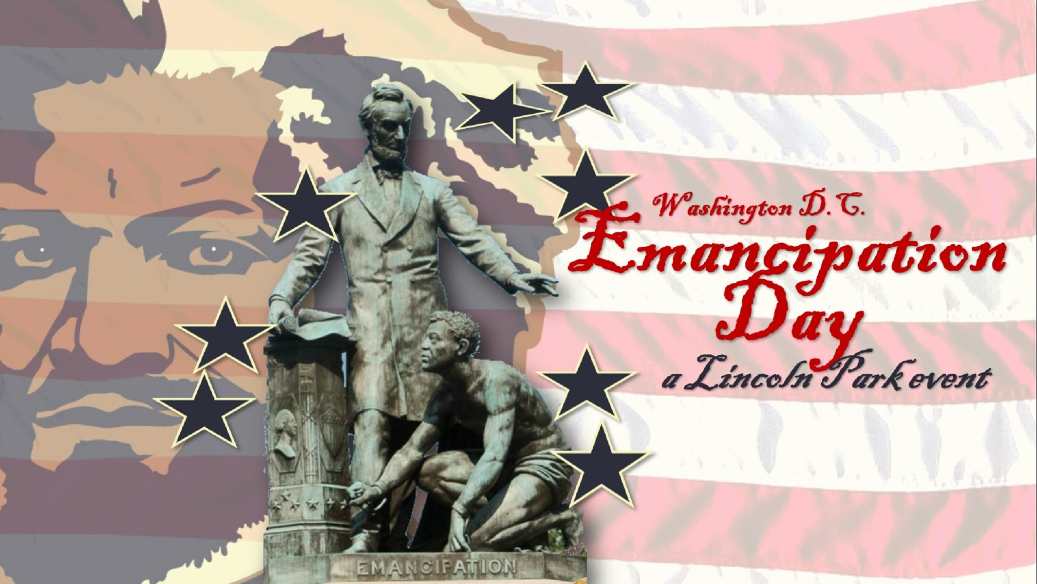 Red, White and Blue Image of Lincoln Statue and Frederick Douglass