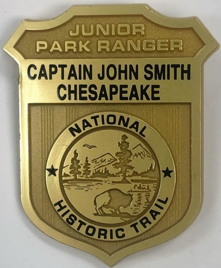 National Park Junior Ranger badge for the Captain John Smith Chesapeake National Historic Trail