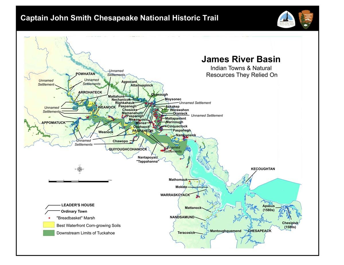 James River Basin Captain John Smith Chesapeake National Historic - James-river-on-us-map