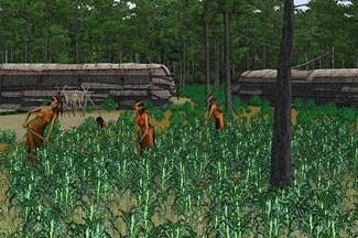 Computer animation  of American Indians cultivating crops.